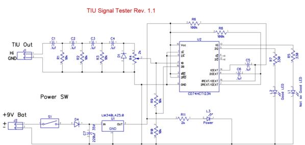 TIU Signal Tester Rev. 1.1 Schematic