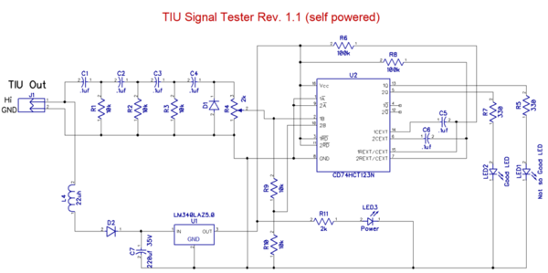 TIU Signal Tester Rev. 1.1 [self powered)