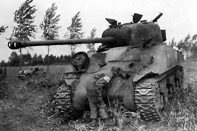 WW2-Photo-WWII-Destroyed-M4-Sherman-Tank