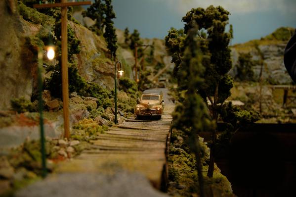 station wagon on bridge