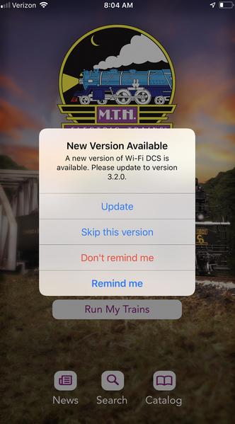 6 MTH Wi-Fi DCS 3.2.0. Update