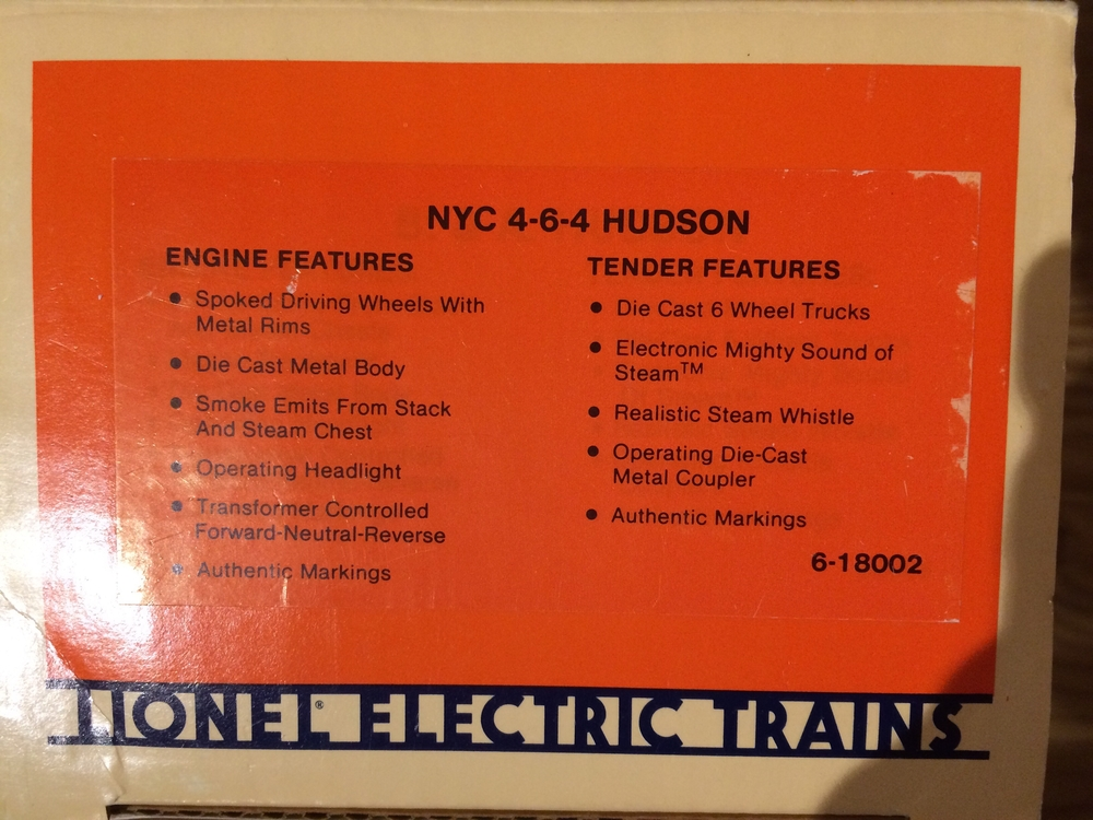LIONEL 6-18002 O SCALE HUDSON | O Gauge Railroading On Line Forum