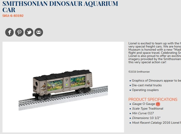 lionel dino aquarium car