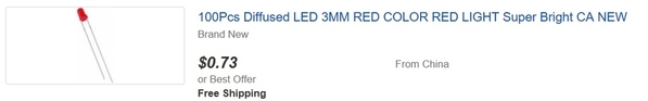 red 3mm less than a penny each