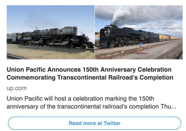 Union Pacific Twitter Aril 11