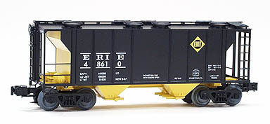 ERIE PS-2 COVERED HOPPER BLACK WITH YELLOW UNDERFRAME