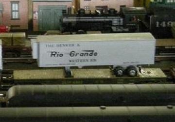 K-Mart Rio Grande trailer atop K-Line flat car