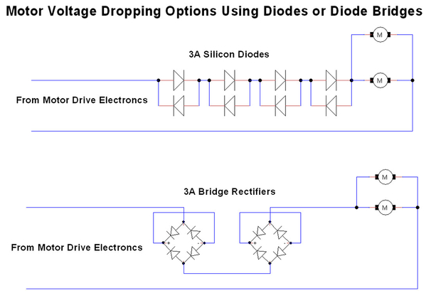 Motor Voltage Dropping Using Diodes