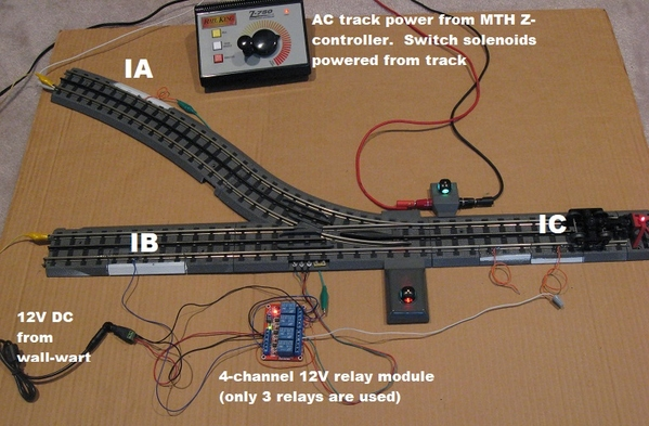 alternating trolley using DIY latching relay