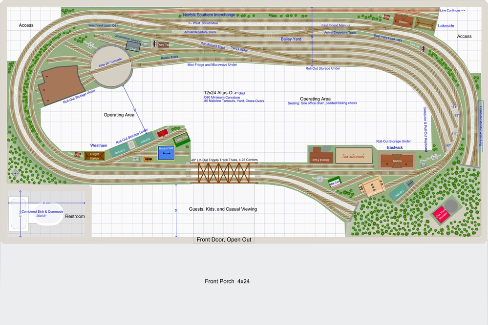 Short Video of Trains Running Added! 14x24 (was 12x20 ... on railroad roundhouses chicago, railroad shops, railroad turntable, on30 track plans, railroad yard design, lionel train track layout plans, walthers track plans, railroad roundhouses missouri, railroad structure plans, railroad tracks, railroad roundhouses in ohio, o gauge turntable plans, 4x8 ho track plans, railroad engine shed plans, railroad yards in chicago, railroad water tower plans, railroad stations, ho scale turntable plans,