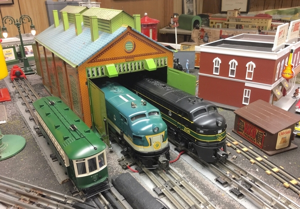 Engine Shed with Trolley SR and RDG F3s [1)