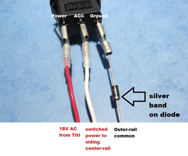 12V DC automotive switch for AC siding block power