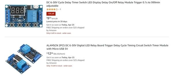 6-30v timer relay module on amazon